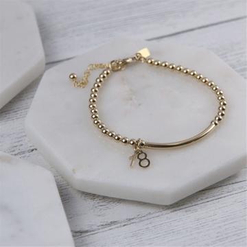 18th Gold Beaded Birthday Bracelet