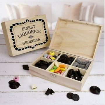 Personalised Finest Liquorice Wooden Sweet Box