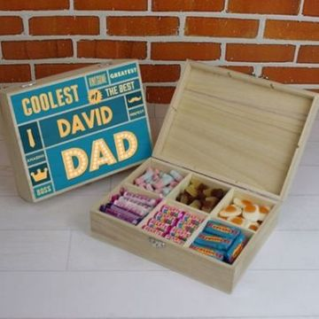 Personalised Best Dad - 6 Compartment Wooden Sweet Box