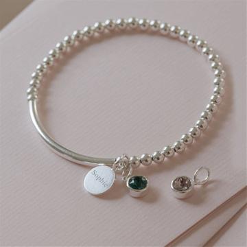 Personalised Sterling Silver Birthstone Stretch Bracelet