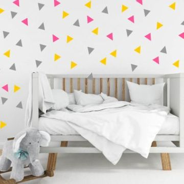 Three Colour Triangle Wall Stickers - Pink And Yellow