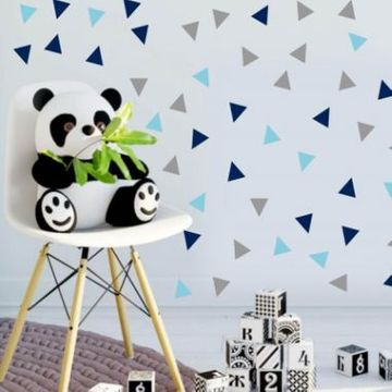 Three Colour Triangle Wall Stickers - Blue