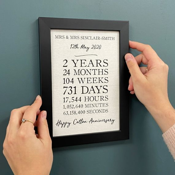 Personalised A5 Cotton Anniversary Framed Time Print