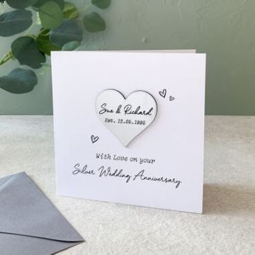 Personalised Silver (25th) Anniversary Heart Card