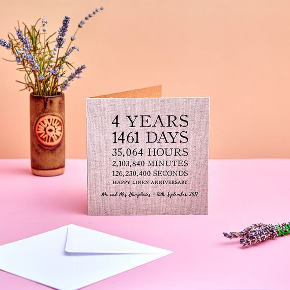 Personalised Linen (4th) Anniversary Time Card