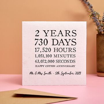 Personalised Cotton (2nd) Anniversary Time Card