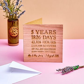 Personalised Wooden (5th) Anniversary Time Card