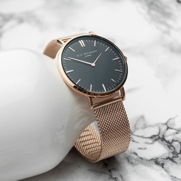 Personalised Rose Gold Mesh Strapped Watch - Black Dial