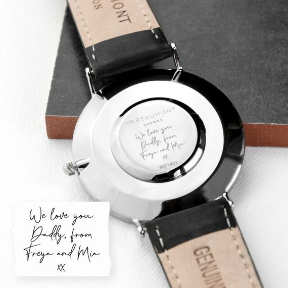 Personalised Handwriting Men's Leather Watch