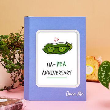 Personalised Pea Anniversary Cake Card