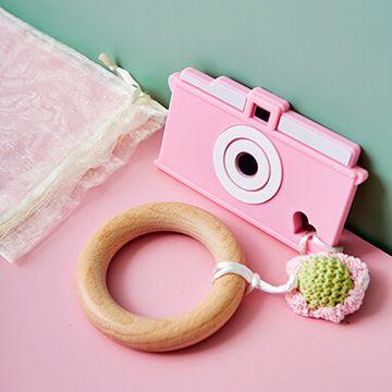 Camera Teething Bracelet - Pink with crochet flower
