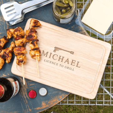 Personalised 'Licence to Grill' Wooden Chopping Board
